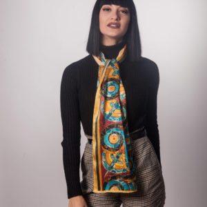 Φλοράλ μεταξωτό γυναικείο χειροποίητο μαντίλι 170 Χ 35 εκ.