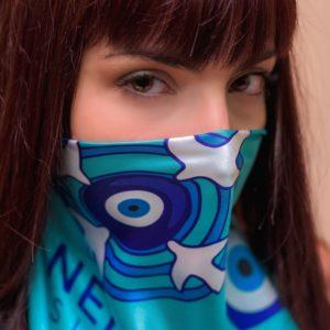 Σουφλιώτικο Μεταξωτό γυναικείο χειροποίητο μαντίλι – Γαλάζιο και τουρκουάζ– Μάτι 70 Χ 70 εκ.
